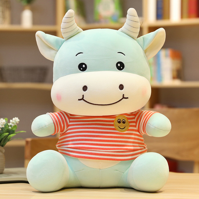 New Huggable Smile Cattle Plush Toys Stuffed Animal Cow Plush Doll Cute Soft Cartoon Toys for Children Baby Christmas Gift
