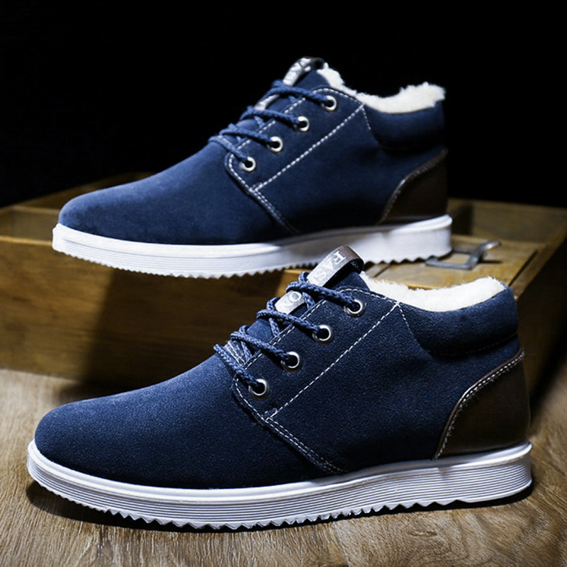 Fashion Winter Shoes Men Keep Warm Boots Outdoor Warm Snow Boots Ankle Flat Boots Soft Shoes Zapatos De Hombre