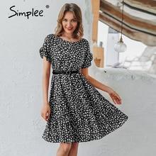 Simplee сексуальное платье в горошек для женщин, повседневное свободное леопардовое платье с О образным вырезом, летнее Повседневное платье с коротким рукавом и оборками для отдыха и пляжа