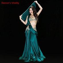 ใหม่คุณภาพสูงBelly Danceเครื่องแต่งกายเซ็กซี่Bra + กระโปรง + เข็มขัดStage Performanceชุดชุดเสื้อผ้าสีเขียวสีแดง 2 สี