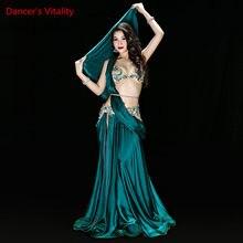 Nouvelles robes de costumes de danse du ventre de haute qualité soutien-gorge Sexy + jupe + ceinture Performance de scène costumes tenues vêtements vert rouge 2 couleurs