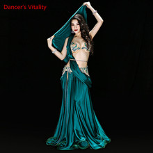 New high quality Belly Dance Costume Dresses Sexy Bra+Skirt+belt stage Performance Suits Outfits Clothes green red 2 colors
