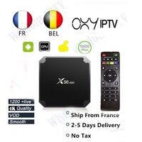 Французский iptv box x96 Мини Смарт android tv box 1500 + live 1 год OXY iptv подписка m3u Франция Европа Бельгия телеприставка
