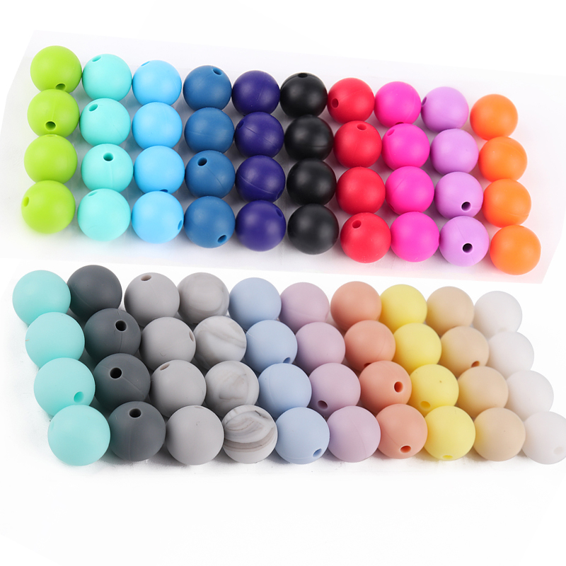 TYRY.HU 20pc/lot 12mm Silicone Beads Teething Necklace Bead DIY Pacifier Chain Clip BPA FREE Baby Teether