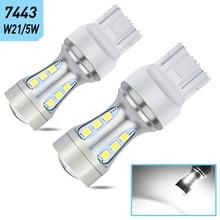 2x7443 T20 P21/5 Вт 1156 BA15S T15 W16W светодиодные лампы дневного светильник LED DRL для BMW Audi Mercedes Benz Honda VW Volkswagen Passat Touran