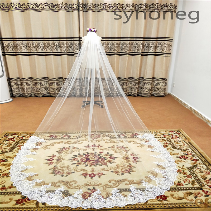 Real Photo Romantic  Wedding Veil Cathedral One Layer Lace Appliqued Long Bridal Veils With Comb Woman Marry Gifts