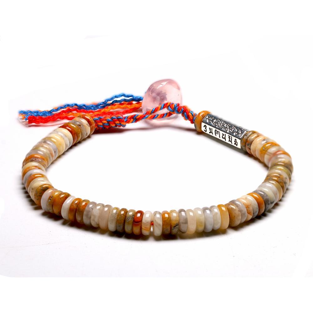 Tibetan OM Charm Bracelet Gem Crazy Onyx Braided Handmade Wrap Bracelets Gifts For Women Lucky Jewelry 6MM