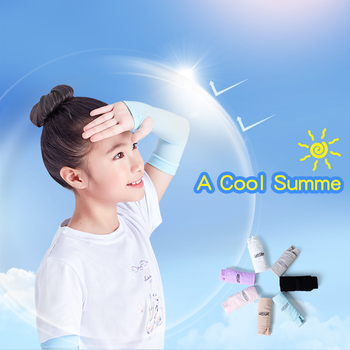 2 Pairs Arm Sleeves For Kids Sun Protection Sleeves Summer Cool Muff Arm Warmers Ice Silk Sleeve Cover Cycling Running Outdoor