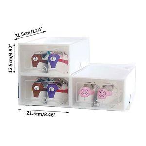 Image 4 - 6Pcs פלסטיק קופסא נעליים ניתן לגיבוב מתקפלים ארגונית מגירת אחסון מקרה עם מרפרף ברור דלת גבירותיי גברים 31.5x21.5x12.5cm