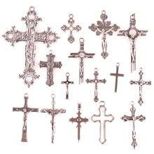 15 pçs encantos cruz cristã antigo banhado a prata pingentes fazendo diy artesanal tibetano prata jóias componentes 23297
