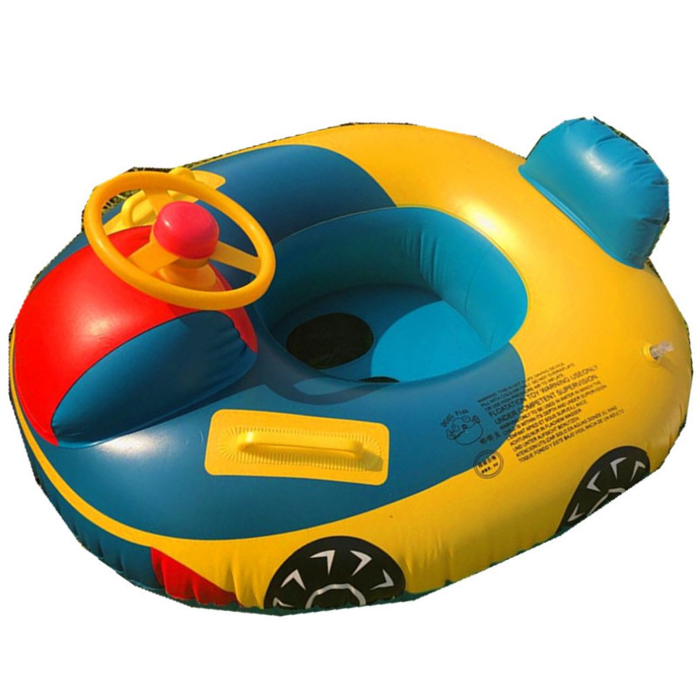 Genteel Swimming Ring With Steering Wheel Baby Swimming Accessories Inflatable Pool Ring Child Laps Swim Seat Float Boat
