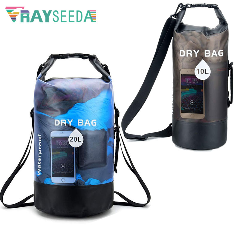 Newest 10L/20L Transparent Swimming Dry Bag Outdoor Travel Waterproof Dry Sack Backpack Men Women Seaside Beach Use Shoulder Bag 1