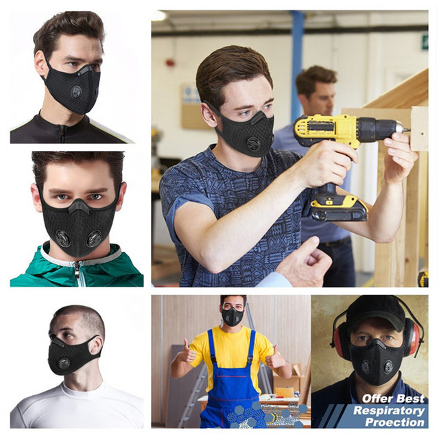Respirator Dust Mask with Filter Breath Valve Anti Dust Mask Half Face Carbon Mountain Bicycle Motor Cycling Masks Face Cover 5