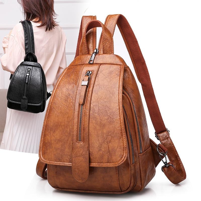 2020 Vintage Women Backpack For Ladies Travel Back Bag Chest Shoulder Bag Good Quality Oil Wax PU Leather Female Backbag Mochila