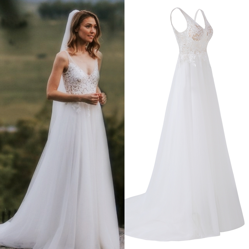 Spaghetti Straps V Neck Lace Fabric Tulle Pleating Wedding Dress Bridal Gown