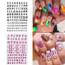 1pc Black Pink Letter Nail Art Sticker Nail Decal English Character Circle 3D Nail Adhesive Sticker Decals Nail Decoration Diy цена в Москве и Питере