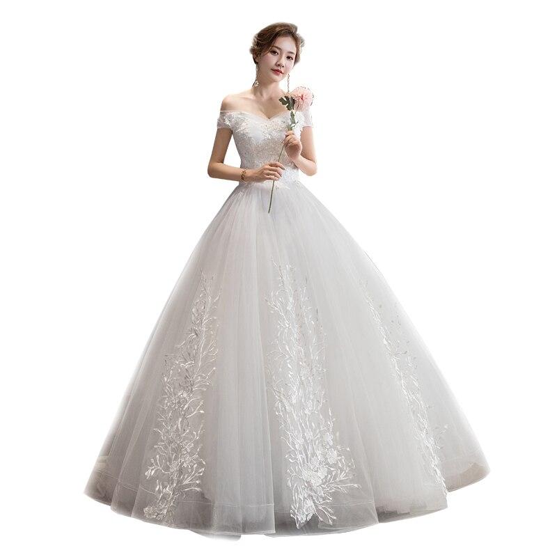 2019 New Elegant Boat Neck Short Sleeve Simple Wedding Dress Lace Embroidery Sequin Plus Sizebride Gown Vestidos De Noiva L