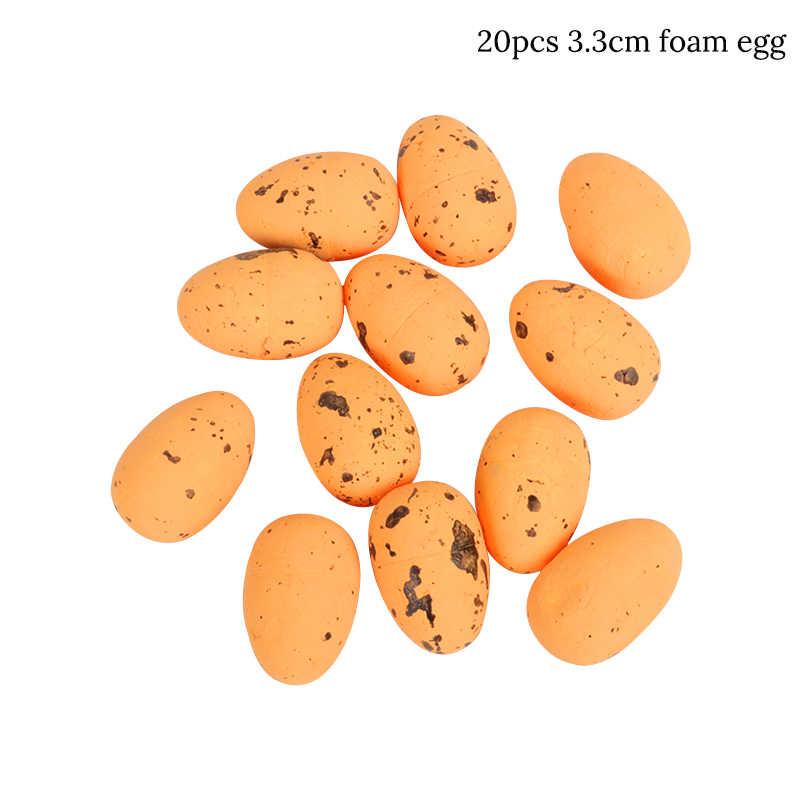 20 piezas 3,3 cm huevos de Pascua de esponja feliz Pascua decoración pájaro paloma huevos hogar fiesta decoración DIY artesanía niños regalo suministros para fiesta de Pascua