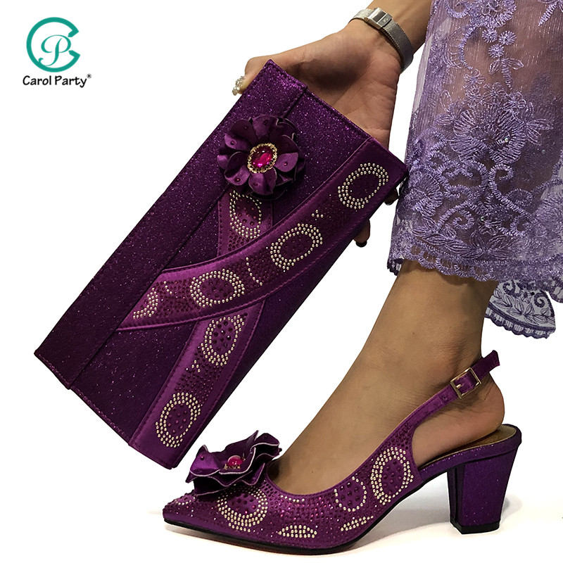 Latest African Summer High Heels Slipper Shoes and Bag for Wedding Dress Elegant Fashion Casual Shoe Women Sandals Plus Size