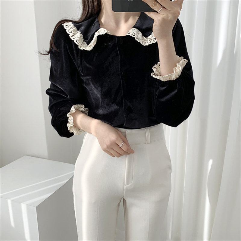 HziriP Fashion Chic Velvet Lace Tops Casual Women 2020 OL Shirt Women Long Sleeve Loose Blouse Work Shirts Blusas Mujer De Moda