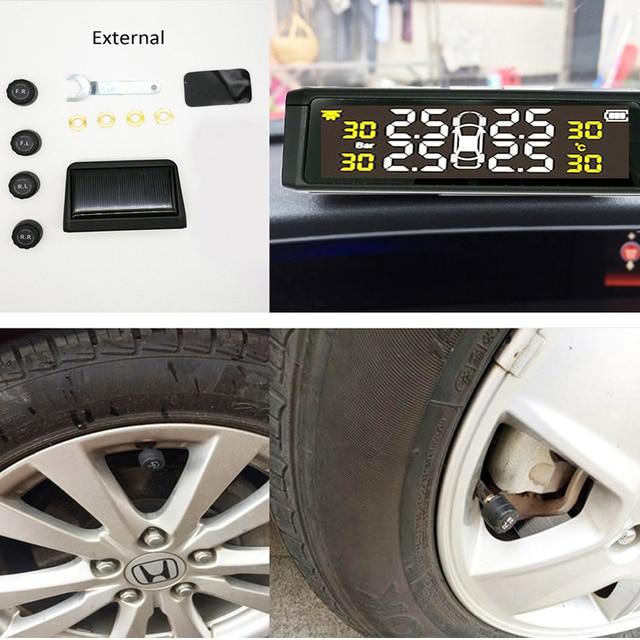 Alarm ciśnienia w oponie w samochodzie monitor systemu słonecznego TPMS wyświetlacz temperatury ostrzeżenie Visture nowy S05N S05W D01W