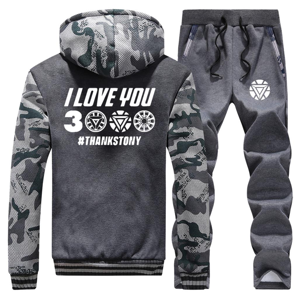 I Love You 3000 Thanks Tony Mens Tracksuit Winter Men Warm Set Thick Jackets+Pants 2 Pieces Sets Male Camouflage Hoodies Suit