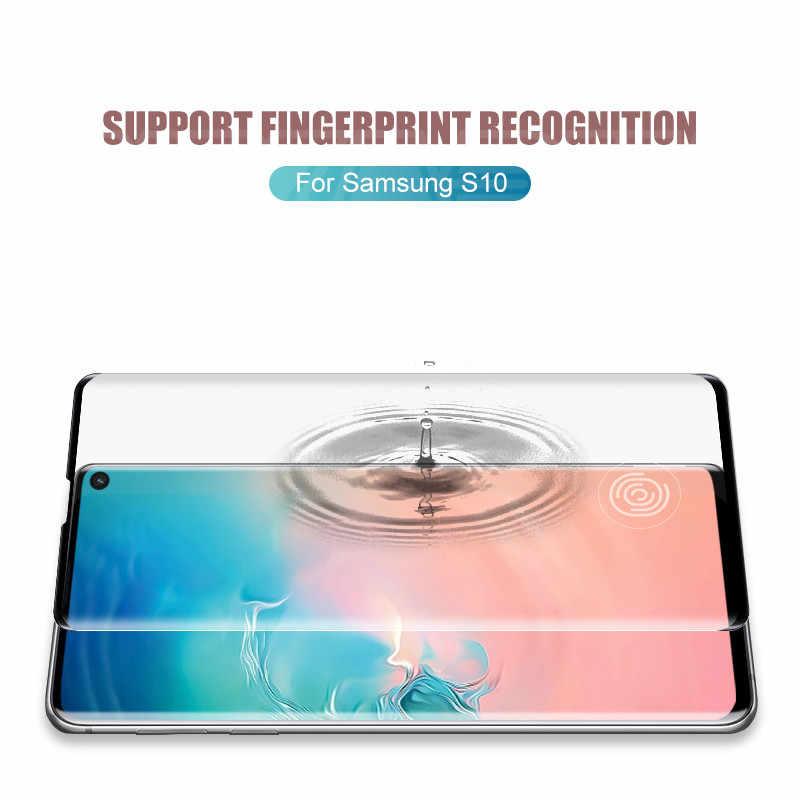 200D ขอบโค้งป้องกันสำหรับ Samsung Galaxy หมายเหตุ 8 9 10 S8 S9 S10 PLUS S10e ป้องกันหน้าจอฟิล์มกระจกนิรภัย