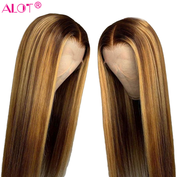 4/27 Ombre Lace Front Human Hair Wig Medium Ratio 150% Pre Plucked Brazilian Straight 13x4 Lace Wigs Highlight Remy Hair Wig