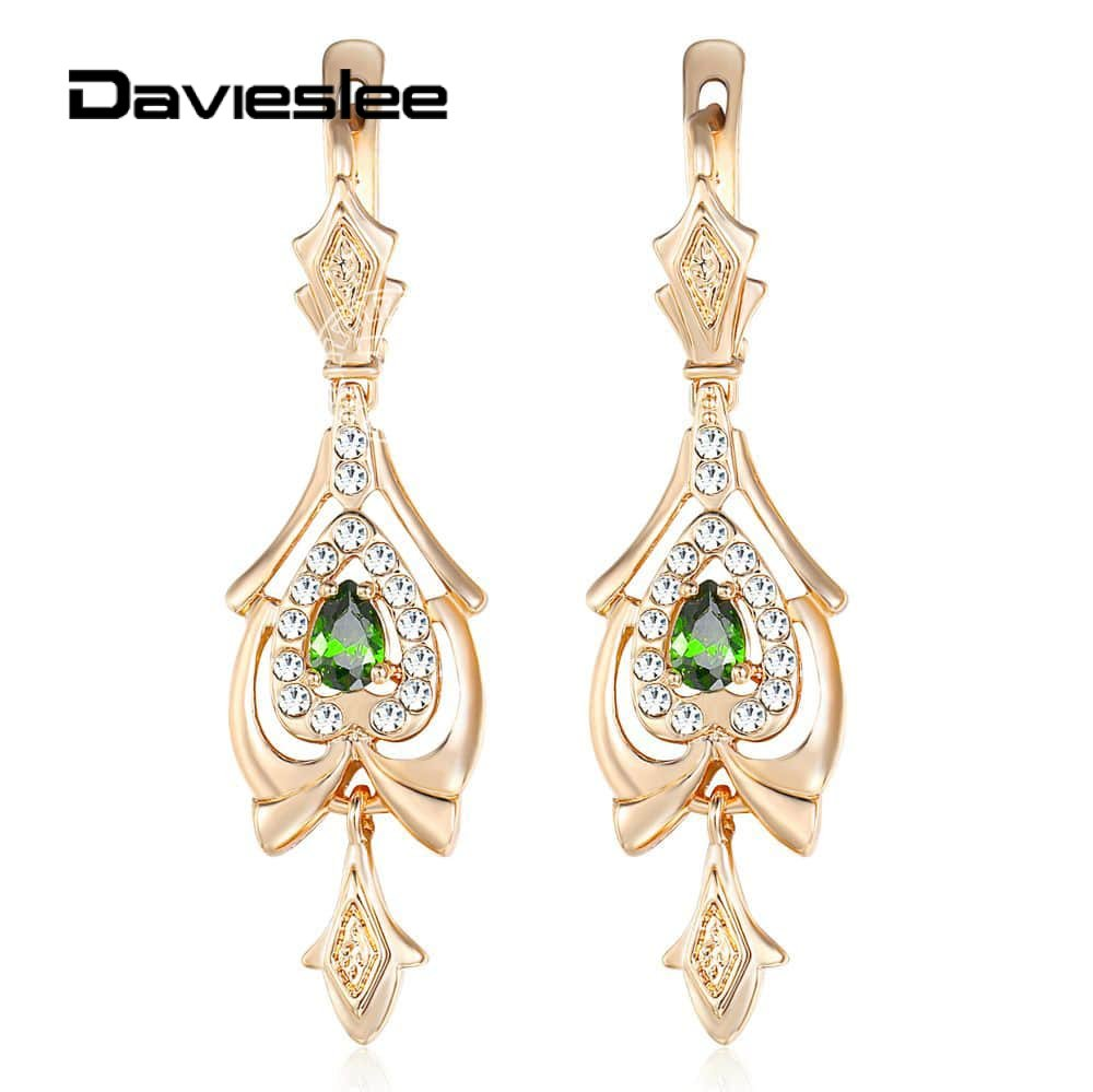 Davieslee Chandelier Drop Earrings for Women Teardrop Olivine Green CZ 585 Rose Gold Filled Paved Clear Cubic Zirconia LGE109(China)