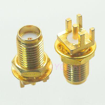 DHL/EMS 100 piezas conector SMA hembra jack soldadura PCB clip edge mount recto h2