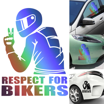 3D Respect Funny JDM Vinyl On Car Styling Decal Cyclists Waterproof Reflective Biker Motorcycle Car Auto Sticker Accessoires image