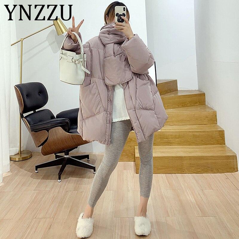 YNZZU Korean Style 2019 Winter Jacket Women Solid with Scarf Warm Female Duck   Down     Coat   Loose Oversized Womens Parka A1189