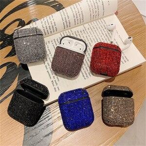 Роскошный Жесткий чехол с 3D бриллиантами для девочек, Bluetooth, беспроводные наушники, чехол для Apple AirPods 1 2, блестящий чехол для гарнитуры