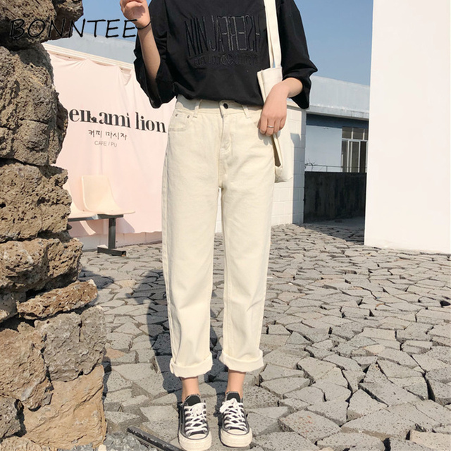 Capris Women Casual jednolity, na zamek proste luźne spodnie damskie wszystkie mecze modne proste spodnie z wysokim stanem studenci w stylu koreańskim