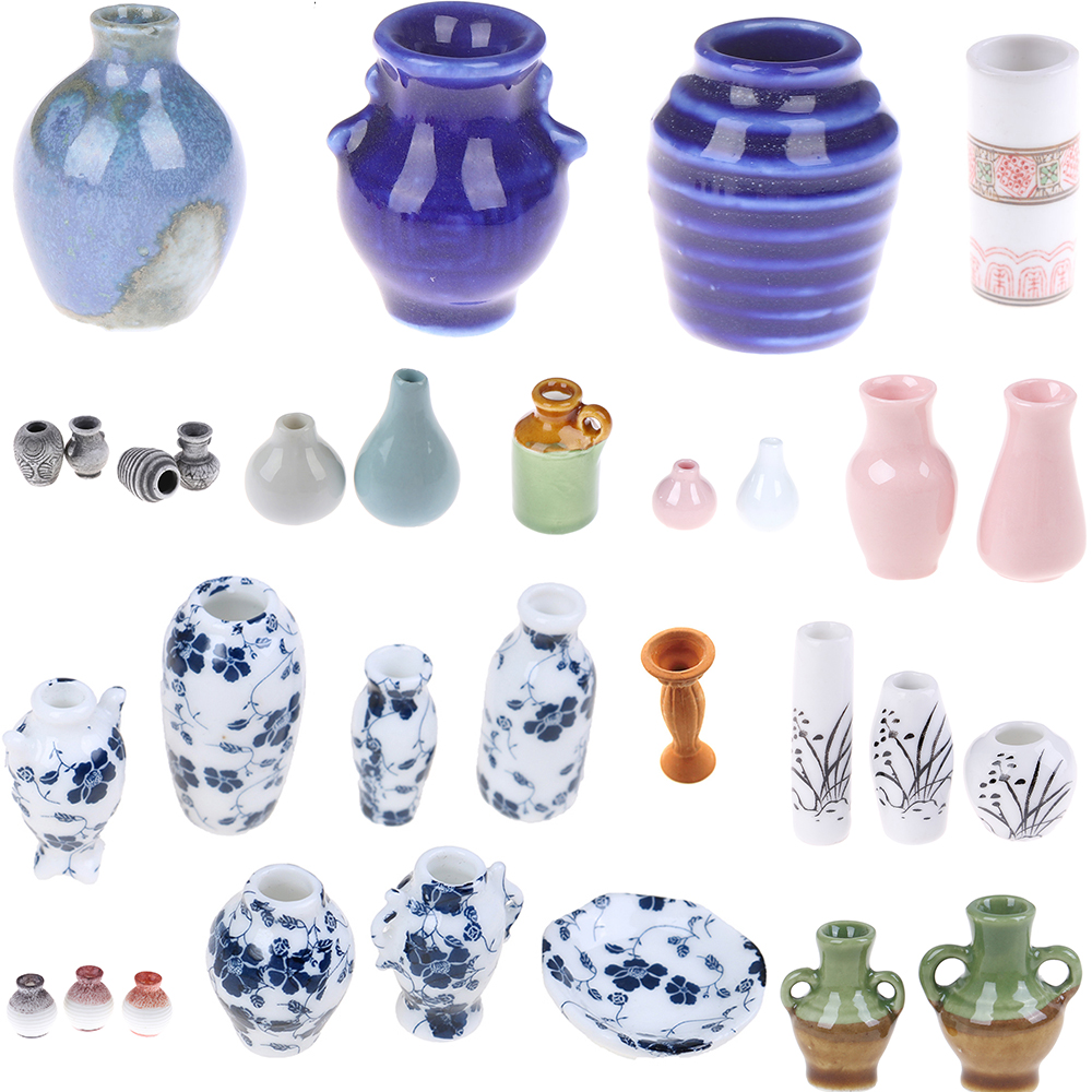 1/2/3/5/7/9 PCS Dollhouse Mini Ceramic Porcelain Vase Accessories Doll House Miniatures 1:12 Accessories Decorative Miniature