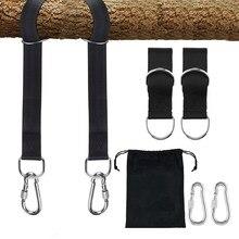Paire de sangles de suspension pour arbre, avec mousquetons, pour mobilier d'extérieur, chaise pivotante, hamacs, Kits de suspension à ceinture pour enfants et adultes