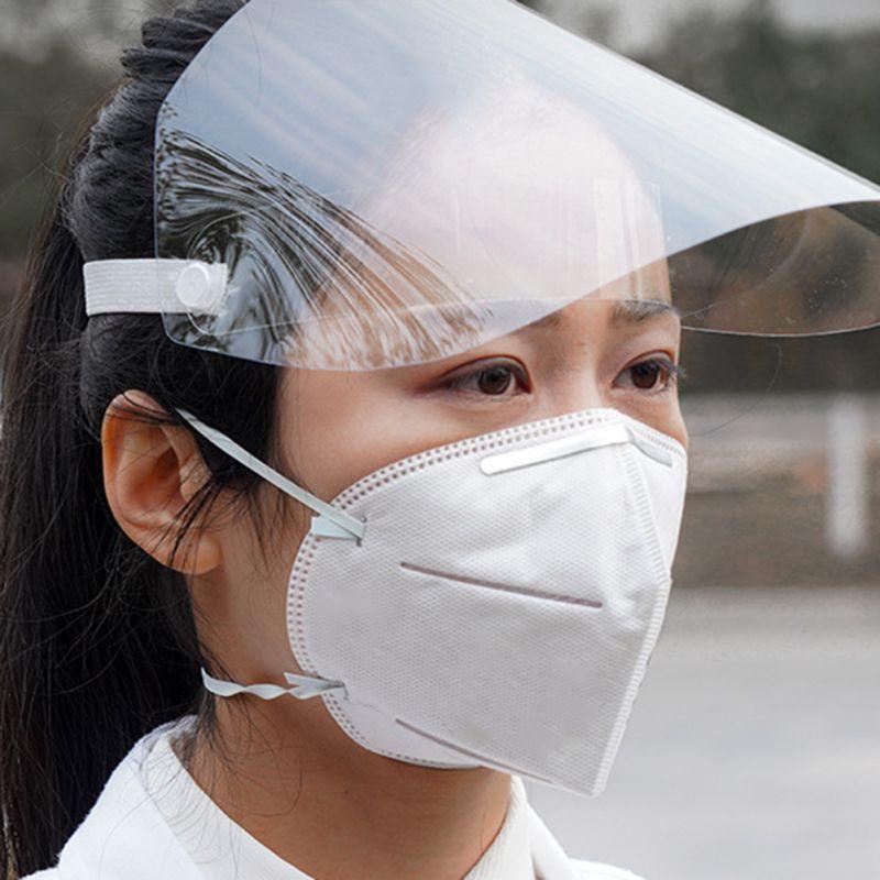 Mask With Hat Transparent Anti Haze Mask Protective Face Shield Transparent PVC Anti-fog Saliva Protection Adult Kid Woman Man