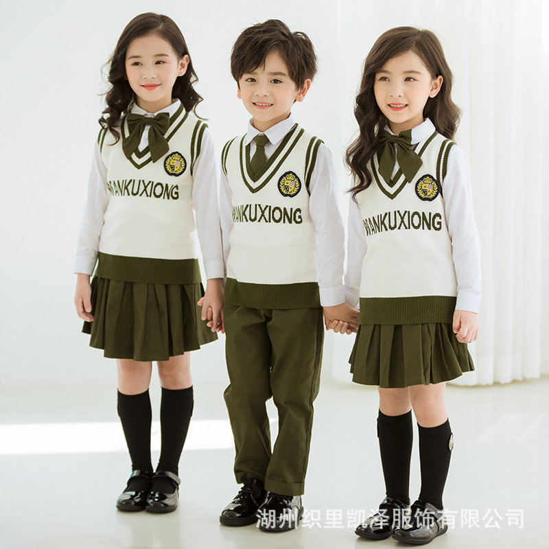 Autumn British-Style School Uniform Three-piece Set Kindergarten Suit Spring And Autumn Set Sweater College Young STUDENT'S Chil
