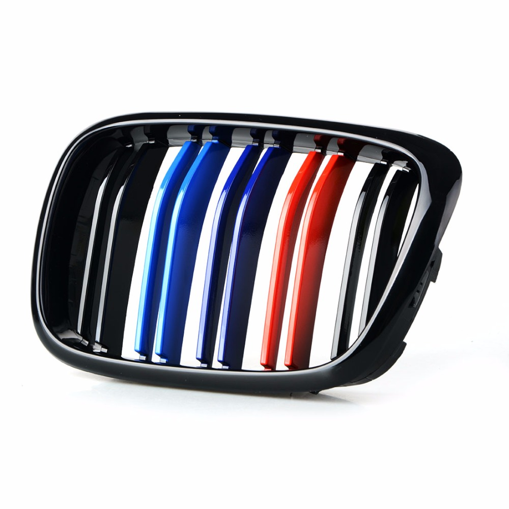 MAHAQI One Pair Front Center Kidney Grilles for BMW E39 Gloss Black Mixed Color Grill 518 520 523 525 528 530 1999 2000 2001 200