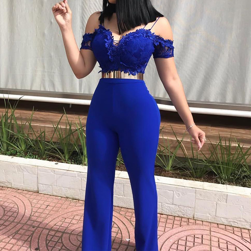 Lace Appliques Strap Sexy Nightclub Jumpsuits Plus Size Summer V Neck Sleeveless Women Blue Pink Sweet Casual Overalls Backless