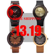 BOBO BIRD Wood Watch Men Ladies Clearance Price Promotion Quartz Wristwatches Women Leather Strap relogio masculino wholesale