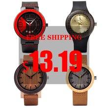 BOBO BIRD reloj de madera para hombre y mujer, promoción de precio de liquidación, relojes de pulsera de cuarzo, correa de cuero, masculino