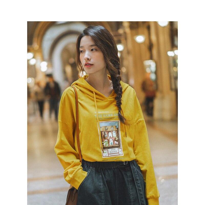 INMAN 2019 Autumn New Arrival 100%Cotton Casual Fashion Print Drop-shoulder Sleeve Loose Women Hoodies