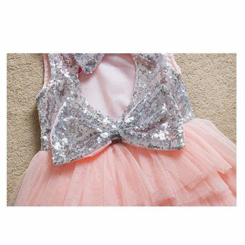 女の赤ちゃんドレス 2020 夏新ヨーロッパアメリカの女の子ウェディングドレス弓スパンコール裸バックプリンセスケーキドレス 2-6 年