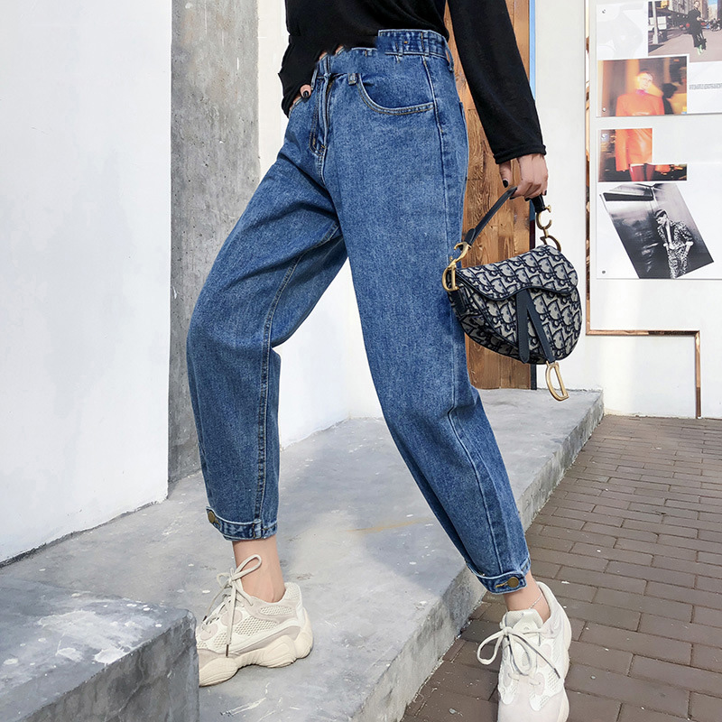 new Vintage ladies boyfriend   jeans   for women mom high waisted   jeans   blue casual pencil trousers korean streetwear denim pants