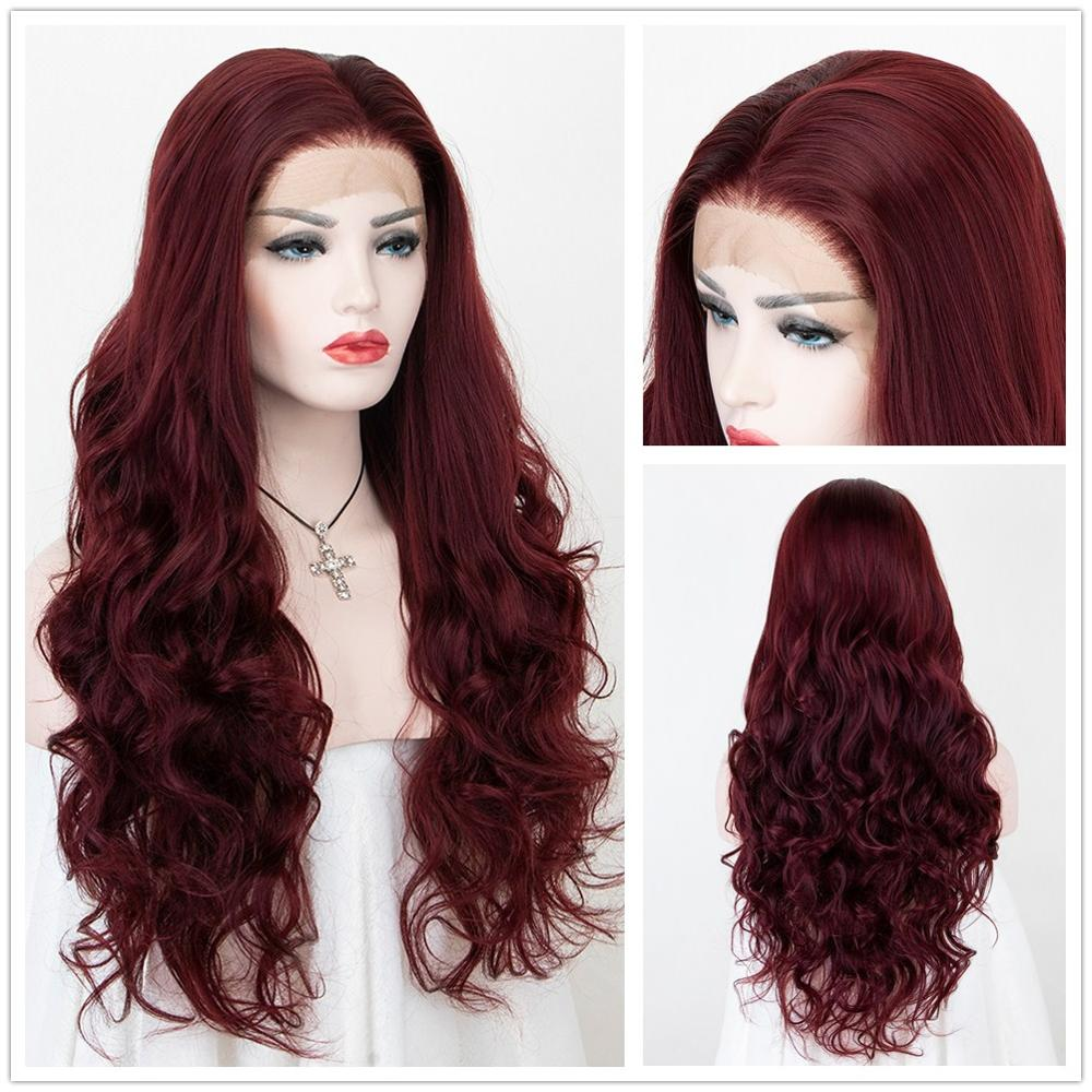 Scheherezade Burgundy Synthetic Lace Front Wigs For Black Women Long Wavy Cosplay Wig High Temperature Fiber African American