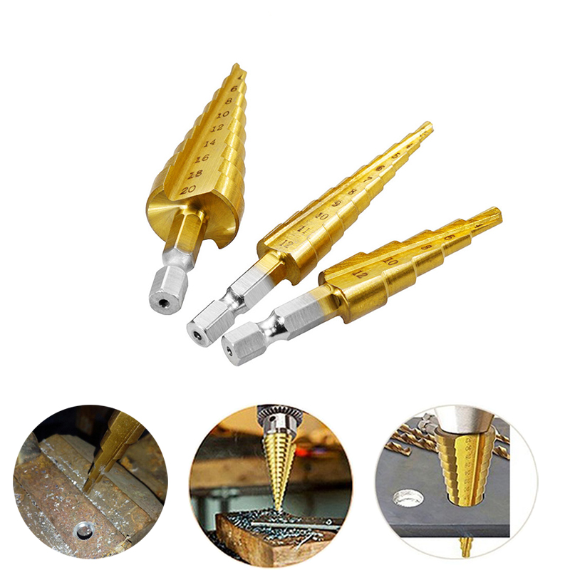 1PC Reaming Drill Hexagonal Shank Straight Slot Ladder Drill Pagoda Bit Step Expanding Package Home Building Site Drilling Tools