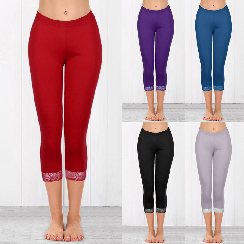 CALOFE 2020 Fashion Solid Lace Patchwork Pants Women Sexy Elastic Skinny Shaping Leggings Fitness Gym Running Pants Calf Length