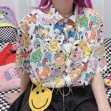 New Summer Women Shirt Kawaii Blouse Female Harajuku Cute Retro Cartoon Animal Print Blouses Female Loose Short Sleeve Tops y2k