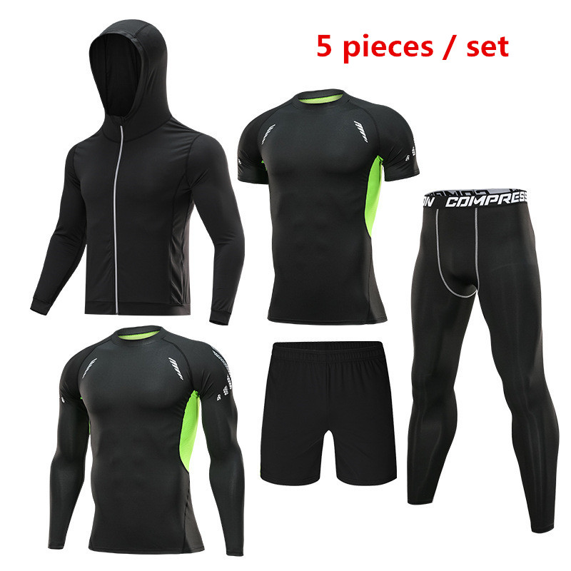 5 pieces   set of men s tracksuits gym fitness compression sportswear clothes running jogging sportswear sports fitness tights
